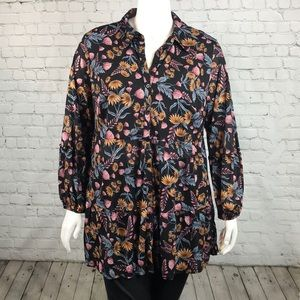 Style & Co Semi Sheer Button Down Top Plus Size 2X